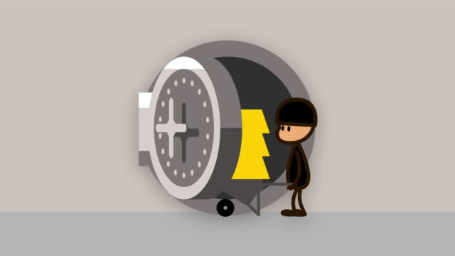 security concept, round vault metal door opening, thief steals the contents of a safe, 4k ultra hd animation - crime stock videos & royalty-free footage