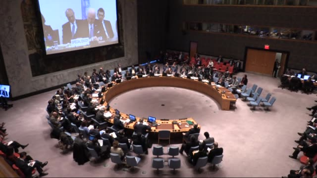 security council during a meeting via video teleconference by staffan de mistura un's special envoy for syria as the council unanimously adopted... - 2016 stock videos & royalty-free footage