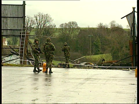security forces helicopter crash naf nortern ireland south armagh bessbrook lams gazelle helicopter hovering over base pull out to wreckage of... - northern ireland stock videos & royalty-free footage