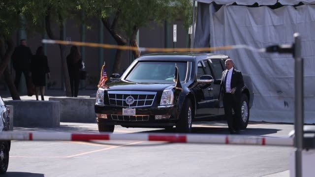 Security forces take measures before US President Donald Trump along with First Lady Melania Trump arrives to visit the staff and shooting survivors...