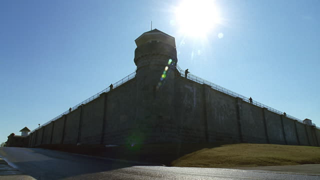 ws security guard on prison tower / montreal, quebec, canada - prison wall stock videos & royalty-free footage