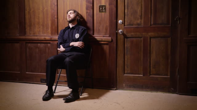 Security guard sleeping at his post
