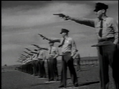 1949 montage security guards shooting target practice on firing range / washington, district of columbia, united states - hanford nuclear reservation video stock e b–roll