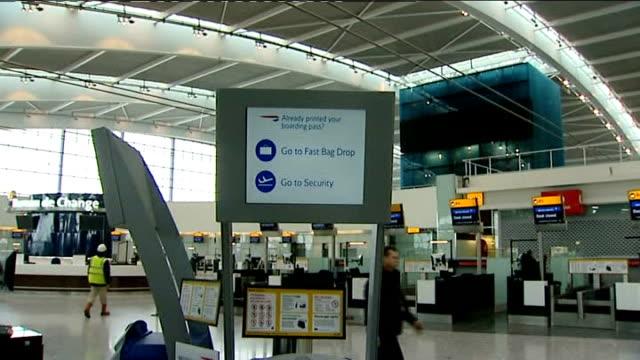 Heathrow Airport Terminal 5 cancels fingerprint plans TX March 2008 ENGLAND London Heathrow Airport Terminal 5 INT General views around new terminal...