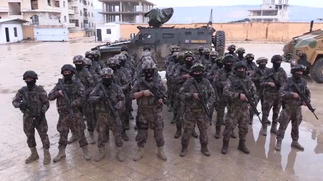 "security in afrin which was purged of the ypg/pkk terrorist group following turkey's operation olive branch is being provided by a ""syria task force""... - armé bildbanksvideor och videomaterial från bakom kulisserna"