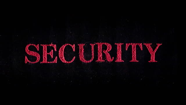 Security in red exploding text in slow motion.