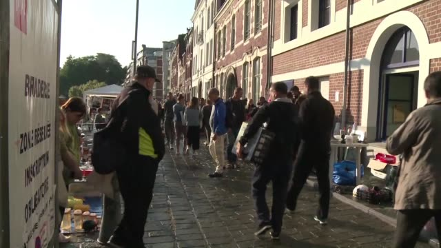 security is high at europe's biggest flea market in the northern french city of lille after the annual market's cancellation in 2016 following the... - lille stock videos & royalty-free footage