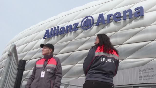 Security is reinforced around the Allianz Arena in Munich where Bayern Munich will host Real Madrid following a bomb attack on the Borussia Dortmund...