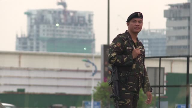 security is tight in manila ahead of start of the association of southeast asian nations summit where leaders will discuss territorial disputes... - association of southeast asian nations stock videos & royalty-free footage