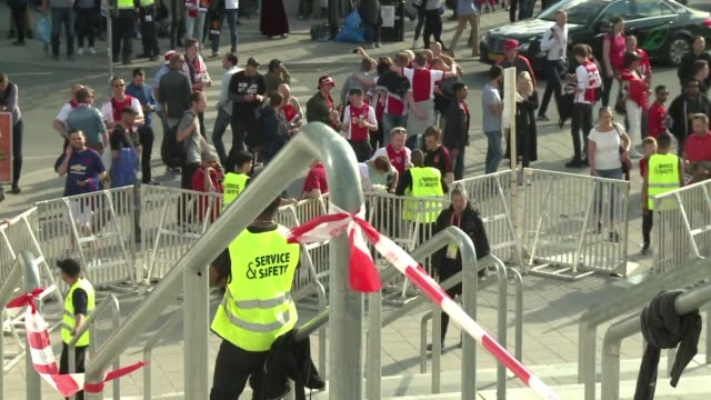 Security measures are reinforced at the Solna Friends Arena in Stockholm ahead of Manchester United's Europa league final against Ajax Amsterdam