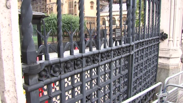 security measures outside houses of parliament england london westminster ext gvs new palace yard / carriage gates outside houses of parliament... - other stock videos and b-roll footage