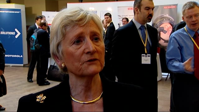 security minister at trade fair ***some baroness nevillejones interview sot need to take all measures we can to reduce our vulnerability / have to... - vulnerability stock videos and b-roll footage