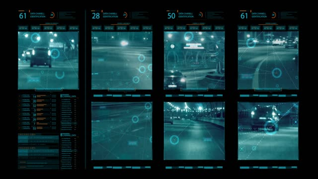 security monitoring screen - pursuit concept video stock e b–roll
