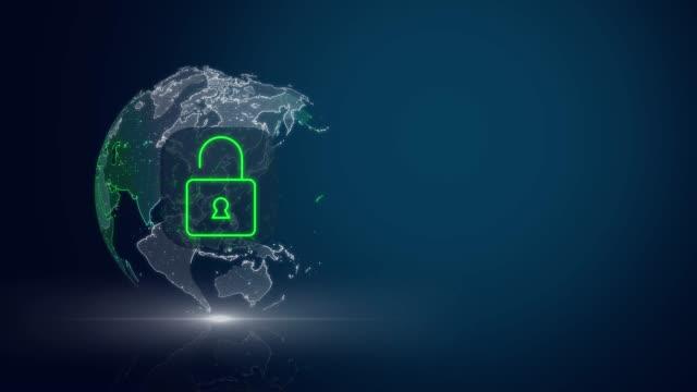 4k-sicherheitsnetzwerk mit globalem weltkartenkonzept - bedrohung stock-videos und b-roll-filmmaterial