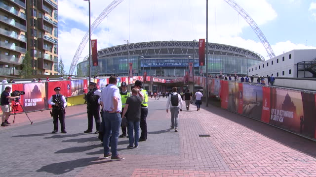 security outsideêwembleyêstadium london, england - healthcare and medicine or illness or food and drink or fitness or exercise or wellbeing stock videos & royalty-free footage