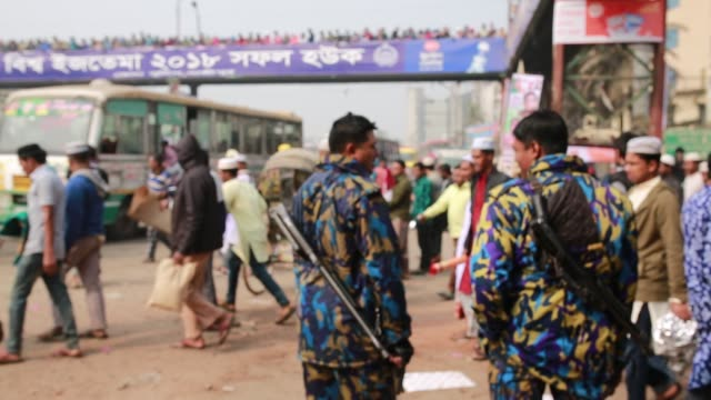 Security police at 'Biswa Ijtema' the second largest religious gathering of Muslims in the world in Tongi 20 km from Dhaka Bangladesh on January 12...