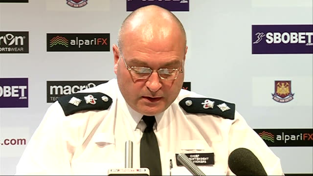 security preparations for west ham v millwall match; london: int chief superintendent sean vickers press conference sot upton park: general view... - lager stock videos & royalty-free footage