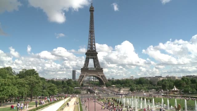 security surrounding paris eiffel tower is to be bolstered after greenpeace activists were able to hang an anti national front banner on the monument - eiffel tower stock videos & royalty-free footage