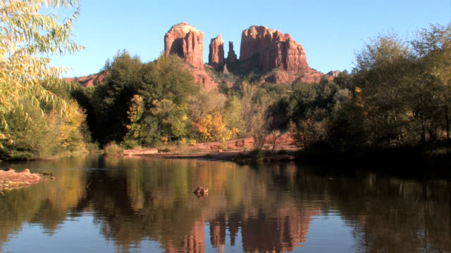 sedona arizona red rocks zoom out to locked - red rocks stock videos and b-roll footage