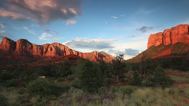 sedona red rocks at sunset - sedona stock videos & royalty-free footage