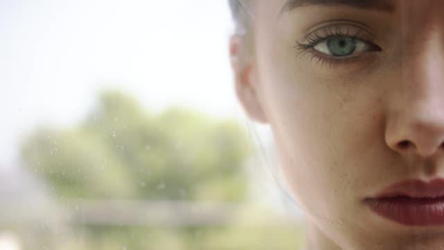 seductive woman hiding behind transparent curtain - patio stock videos & royalty-free footage
