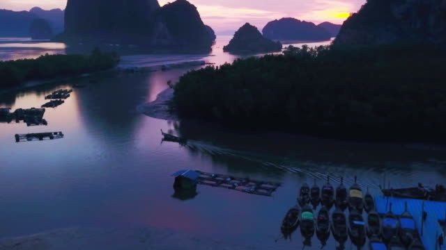 see thailand through the nature : phang nga bay in sunrise - phang nga bay stock videos and b-roll footage