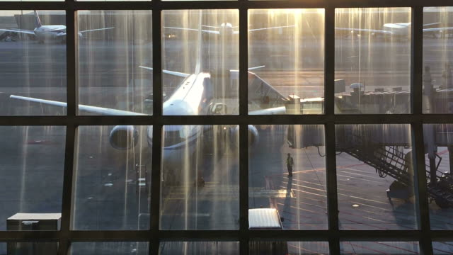See through glass window at air port
