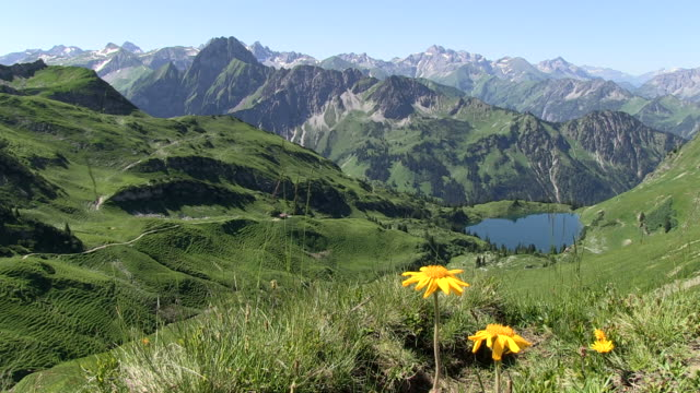ws seealp lake at  allgau alps / oberstdorf, bavaria, germany - european alps stock videos & royalty-free footage