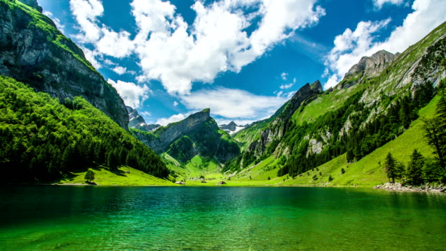 seealpsee mountain lake - switzerland stock videos & royalty-free footage