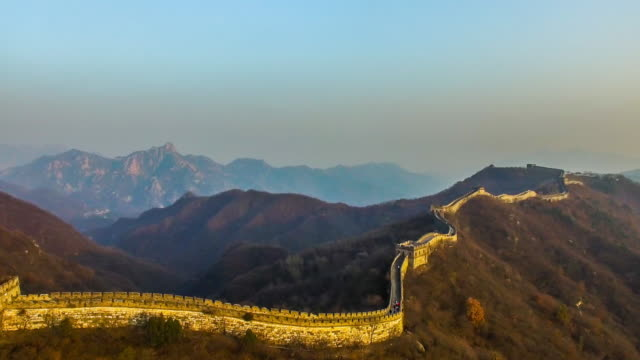 seeing the beauty of the great wall form the sky in beijing of china. - great wall of china stock videos & royalty-free footage