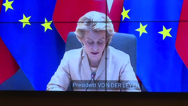 seeking to build on renewed momentum for better ties, turkish president recep tayyip erdogan on friday met with top eu officials. via... - conference call stock videos & royalty-free footage