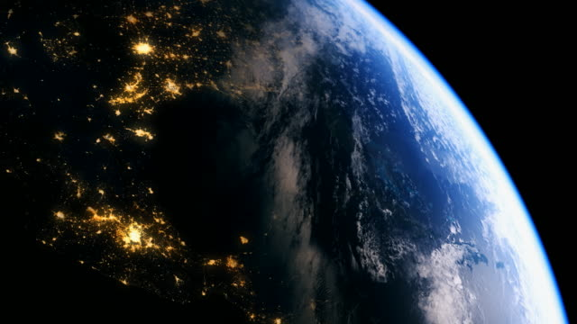 usa seen from orbit in space in 4k - spinning stock videos & royalty-free footage