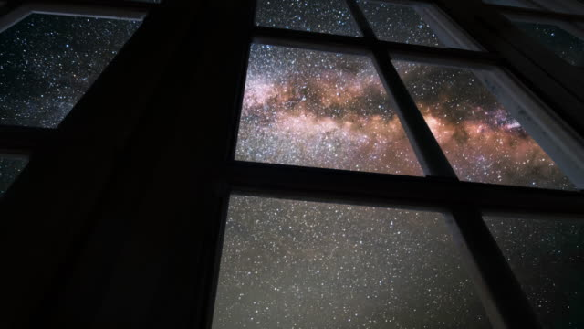 seen through the window with milky way - viewpoint stock videos & royalty-free footage