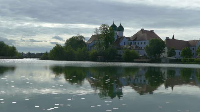 Seeon Monastery on Lake Seeon, Chiemgau, Bavaria, Germany, Europe
