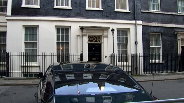 UK sees weakest economic growth since 2012 ENGLAND London Downing Street EXT Ministerial car parked outside Number 11 Close shot of Jaguar logo on car