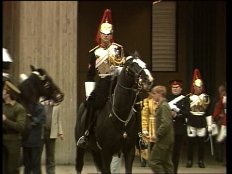 sefton the household cavalry horse badly injured in the hyde park ira nail bomb attack is back on parade england london knightsbridge ext ms sefton... - barracks stock videos & royalty-free footage