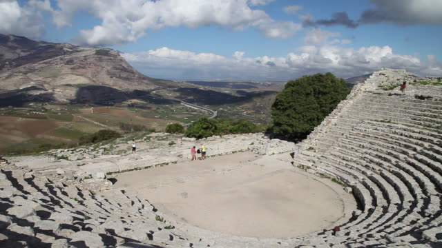 segesta, general view of the greek theatre in the ancient site - amphitheatre stock videos & royalty-free footage