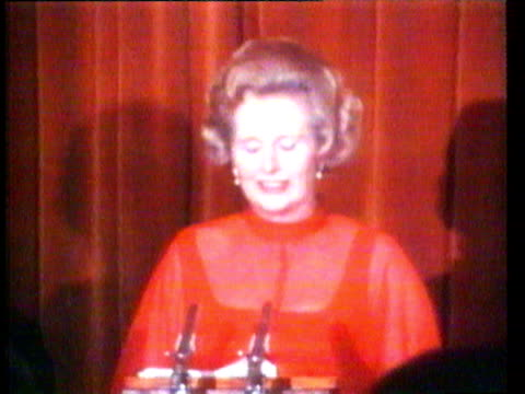 / segment from margaret thatcher speech to finchley conservatives / 'i stand before you tonight in my red star chiffon evening gown my face softly... - margaret thatcher stock videos & royalty-free footage
