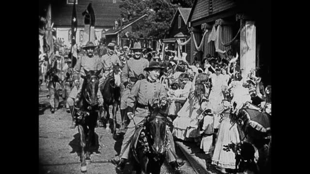 dramatization - 1860s town celebrates with a confederate parade - confederate flag stock videos & royalty-free footage