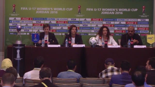 Segolene Valentin Tatjana Haeunni of FIFA and Local Organising Committee CEO Samar Nassar and LOC Chairman and Jordan Football Association Vice...