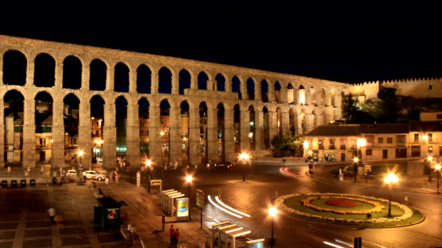 segovia aqueduct time lapse hd - aqueduct stock videos and b-roll footage