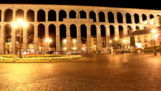 segovia aqueduct time lapse video hd - segovia stock videos & royalty-free footage