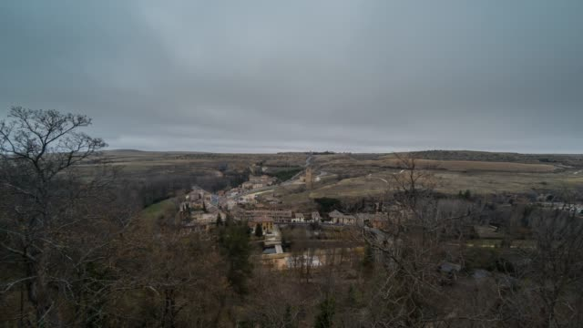 segovia valley timelapse cloudly in winter - segovia stock videos & royalty-free footage