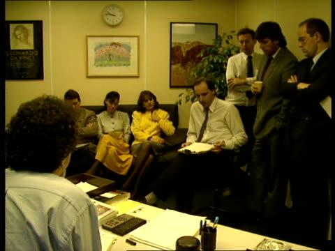 sein fein broadcast ban: one year on; bbc downtown radio: vs journalists at news briefing meeting / intw colin morris on misunderstandings over... - kommunikationsproblem bildbanksvideor och videomaterial från bakom kulisserna