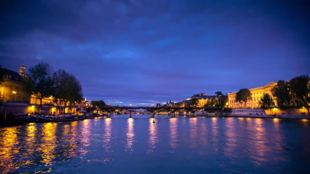 seine from ile de la cité, paris - day to night time lapse - paris france stock videos & royalty-free footage