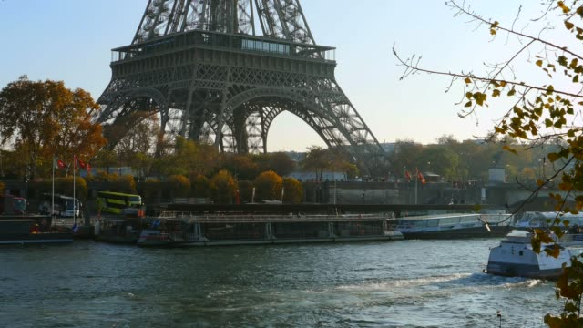 seine river and eiffel tower, paris, france - river seine stock videos & royalty-free footage