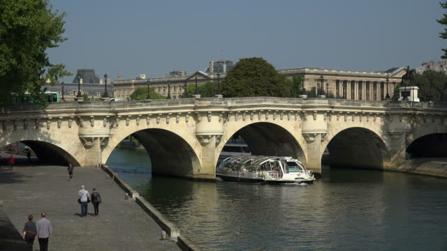 seine river and pont neuf at quai de conti, paris, france, europe - セーヌ川点の映像素材/bロール