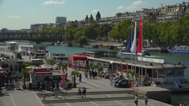 seine river and port de suffren, paris, france, europe - seine river stock videos and b-roll footage