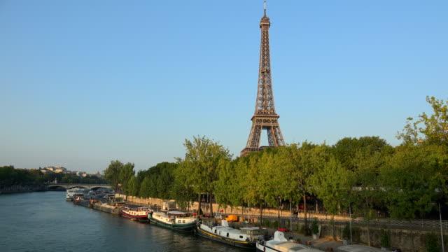 Seine River at Quai Branly and Tour Eiffel, Paris, Ile de France, France