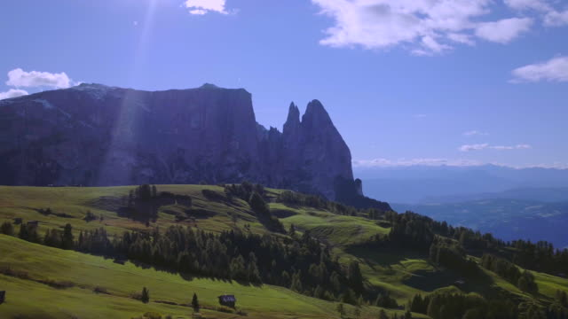 seiser alm, alpe di siusi - italian alps landscape drone view - tyrol state austria stock videos and b-roll footage